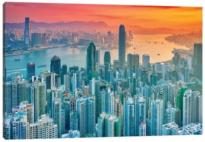 Hong Kong From The Hill Canvas Art Print