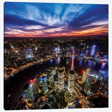 Hong Kong From The Top Canvas Print #MAO154} by Marco Carmassi Canvas Artwork