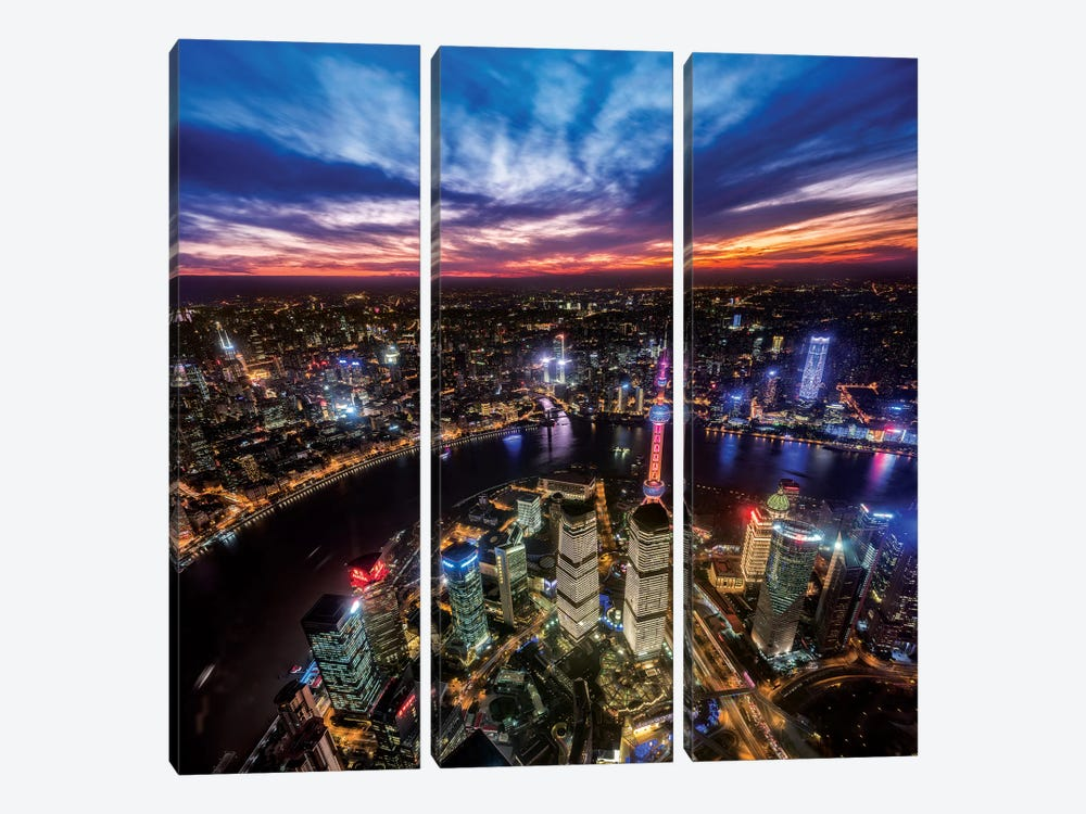Hong Kong From The Top by Marco Carmassi 3-piece Art Print