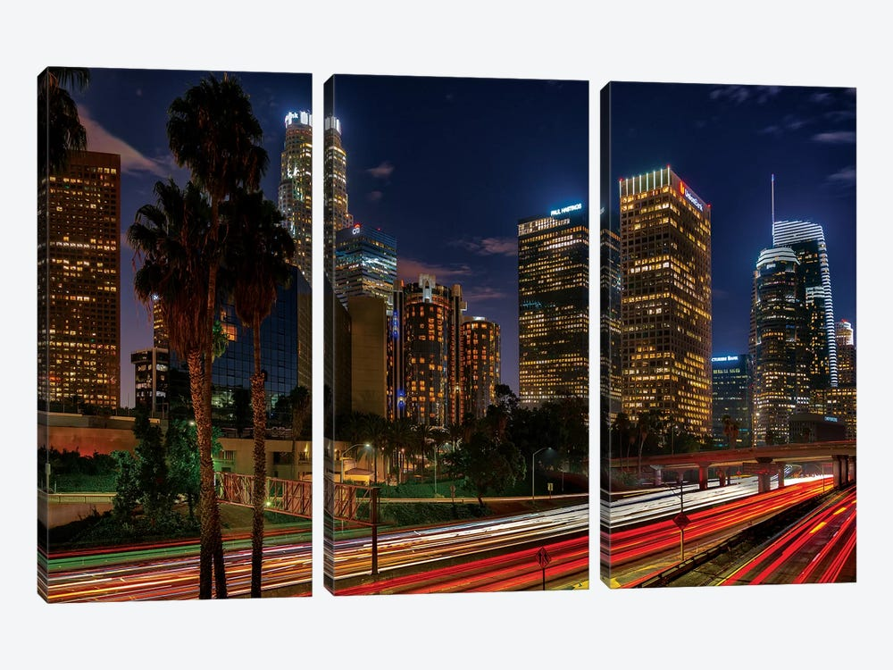 LA Down Town by Marco Carmassi 3-piece Canvas Print