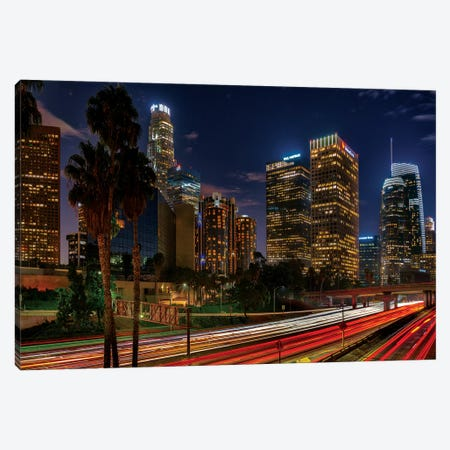 LA Down Town Canvas Print #MAO158} by Marco Carmassi Canvas Print