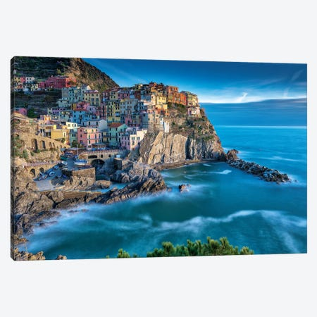 Manarola Italy Memories Canvas Print #MAO165} by Marco Carmassi Art Print