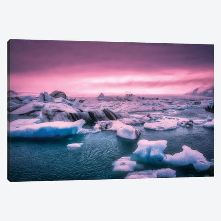 Pink Sunset Iceberg Canvas Print #MAO171} by Marco Carmassi Art Print