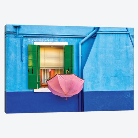 Pink Umbrella In Venice 3-Piece Canvas #MAO172} by Marco Carmassi Art Print