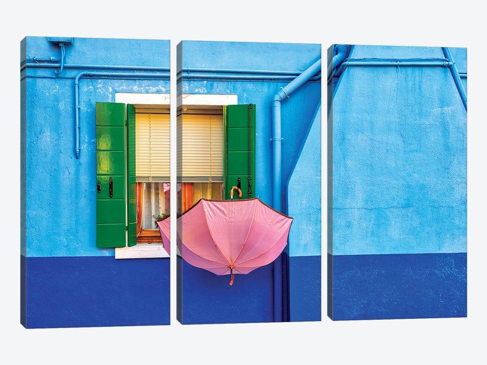 Pink Umbrella In Venice by Marco Carmassi 3-piece Art Print