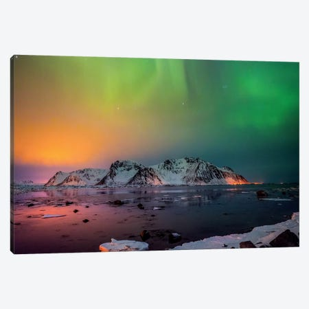 Red And Green Northern Lights Canvas Print #MAO175} by Marco Carmassi Canvas Artwork