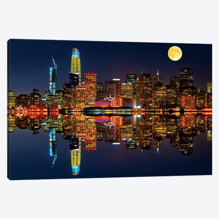 San Francisco By Night Canvas Print #MAO180} by Marco Carmassi Canvas Artwork