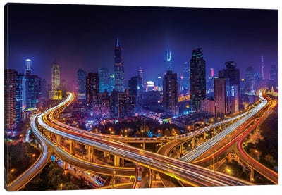 Shanghai By Night Canvas Art Print