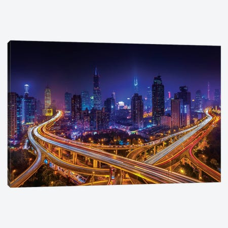 Shanghai By Night Canvas Print #MAO182} by Marco Carmassi Canvas Wall Art