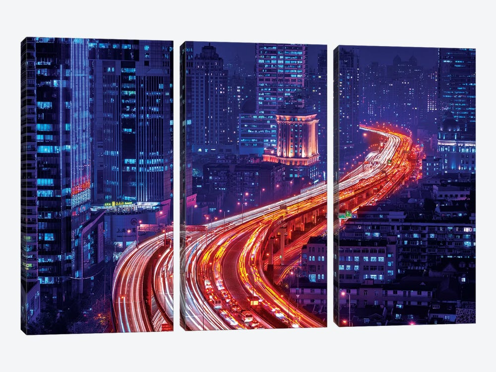 Snake Street by Marco Carmassi 3-piece Canvas Art Print