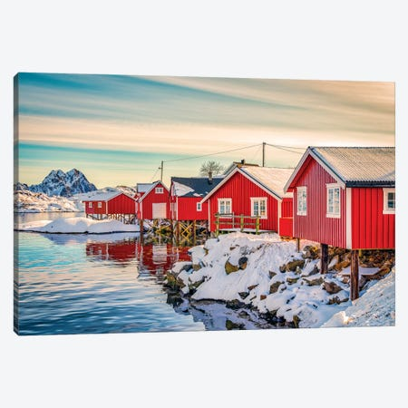 Svolvaer Red House Canvas Print #MAO191} by Marco Carmassi Canvas Art Print