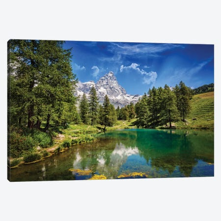 Blue Lake Canvas Print #MAO1} by Marco Carmassi Canvas Artwork