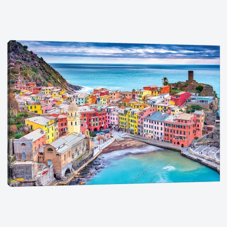 Vernazza Canvas Print #MAO200} by Marco Carmassi Canvas Art Print