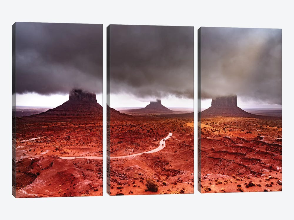 Monument Valley Super Clouds by Marco Carmassi 3-piece Canvas Print