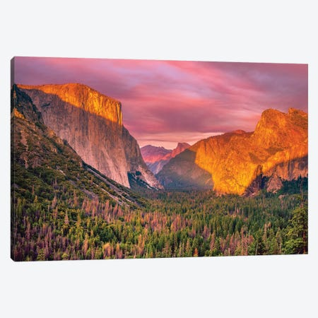 Yosemite Valley Sunset Canvas Print #MAO239} by Marco Carmassi Canvas Art