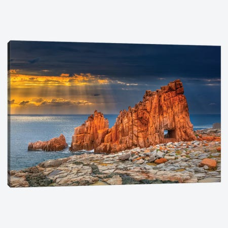 Arbatax Red Rock 3-Piece Canvas #MAO23} by Marco Carmassi Canvas Art