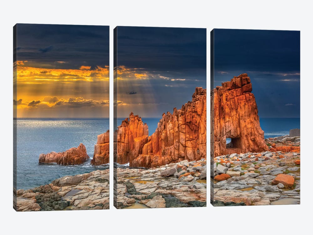 Arbatax Red Rock by Marco Carmassi 3-piece Canvas Wall Art