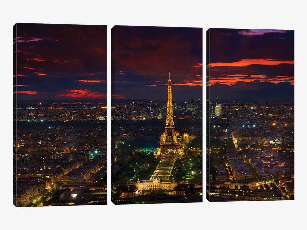 Gold Tower Sunset by Marco Carmassi 3-piece Canvas Wall Art