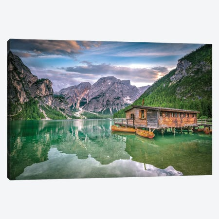 Braies Lake Boats Canvas Print #MAO39} by Marco Carmassi Canvas Art Print