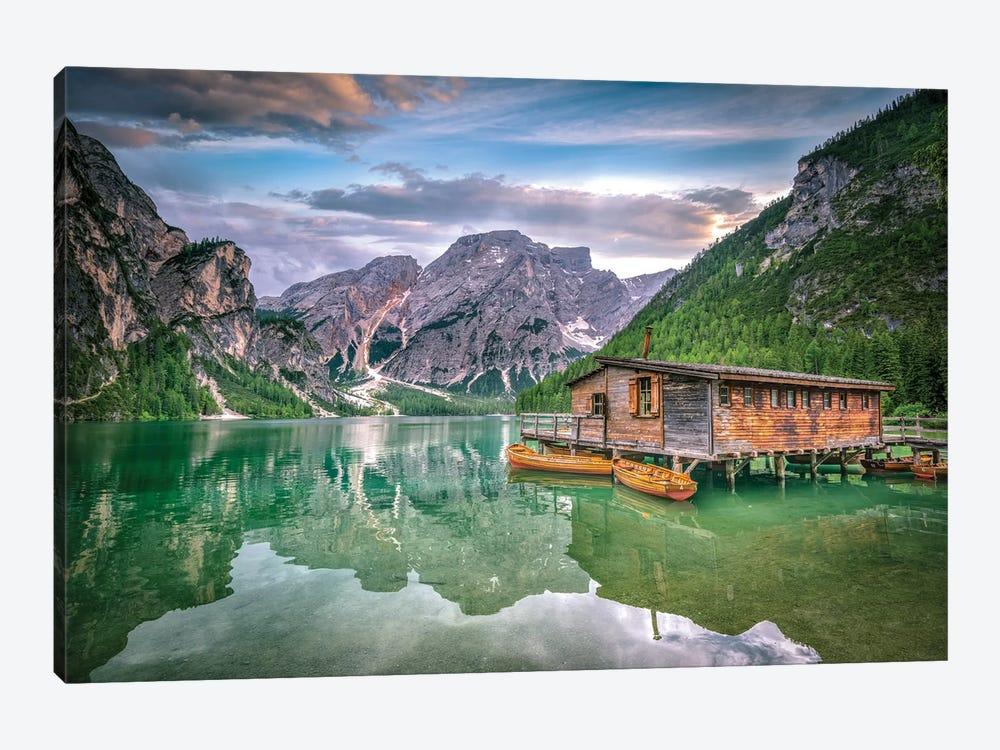 Braies Lake Boats by Marco Carmassi 1-piece Art Print