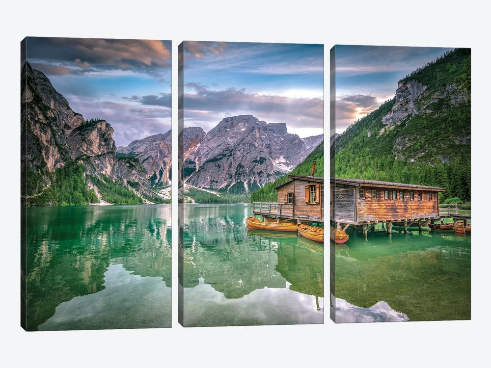 Braies Lake Boats by Marco Carmassi 3-piece Canvas Art Print