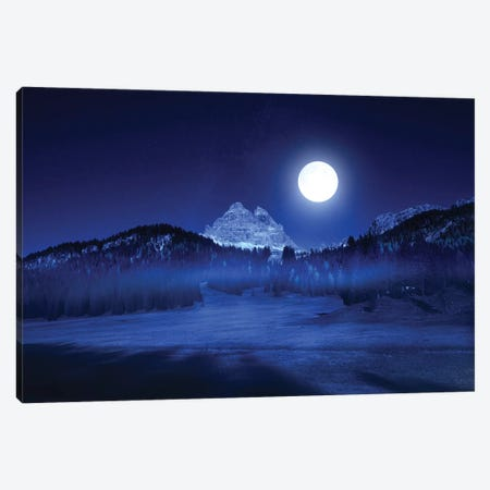Tre Cime Lavaredo By Night Canvas Print #MAO4} by Marco Carmassi Art Print