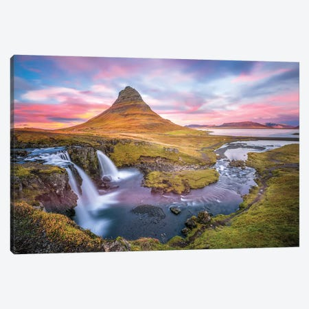 Kirkjufell Autumn Colors Iceland Canvas Print #MAO54} by Marco Carmassi Canvas Wall Art