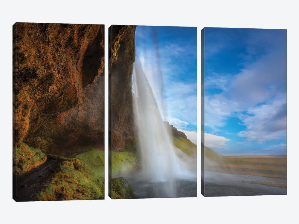 Waterfall Iceland by Marco Carmassi 3-piece Canvas Art Print