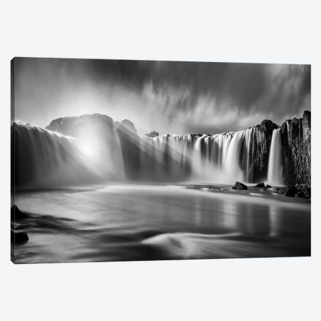 Godafoss Rays Canvas Print #MAO69} by Marco Carmassi Canvas Art