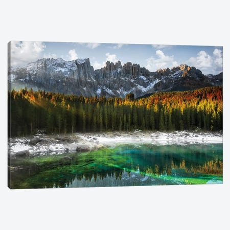 Carezza Lake Canvas Print #MAO6} by Marco Carmassi Art Print