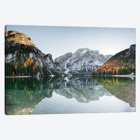 Braies Lake Reflections 3-Piece Canvas #MAO71} by Marco Carmassi Canvas Art Print