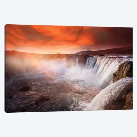 Godafoss Deep Red Canvas Print #MAO75} by Marco Carmassi Canvas Art