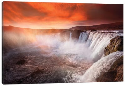 Godafoss Deep Red Canvas Art Print