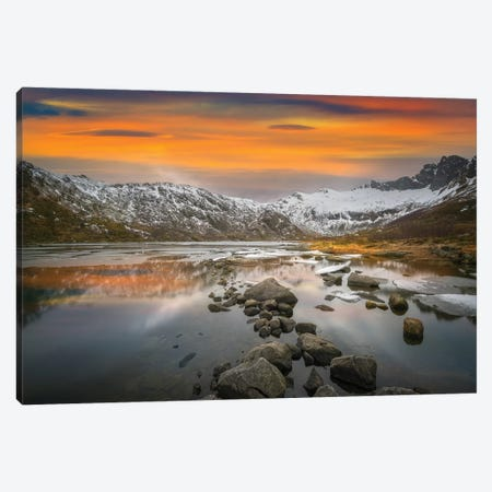 Lofoten Warm Sunset Canvas Print #MAO82} by Marco Carmassi Canvas Artwork