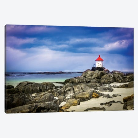 Lighthouse On Rocks Canvas Print #MAO83} by Marco Carmassi Canvas Wall Art