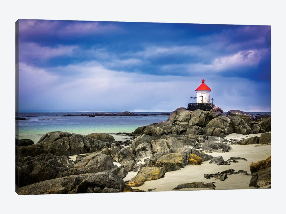 Lighthouse On Rocks by Marco Carmassi 1-piece Canvas Art