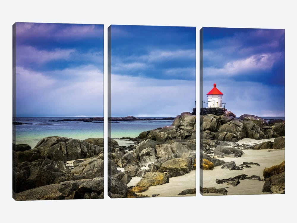 Lighthouse On Rocks by Marco Carmassi 3-piece Canvas Art