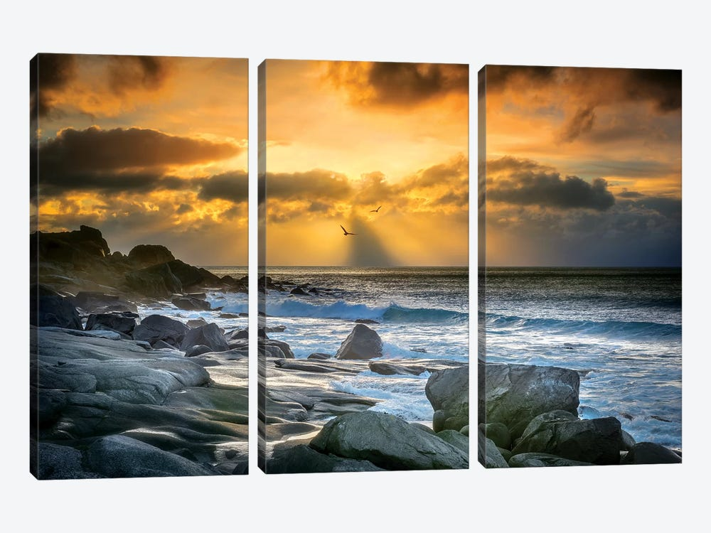 Lofoten Beach And Stones by Marco Carmassi 3-piece Canvas Wall Art