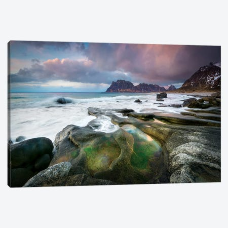 Uttakleiv Beach Canvas Print #MAO86} by Marco Carmassi Art Print