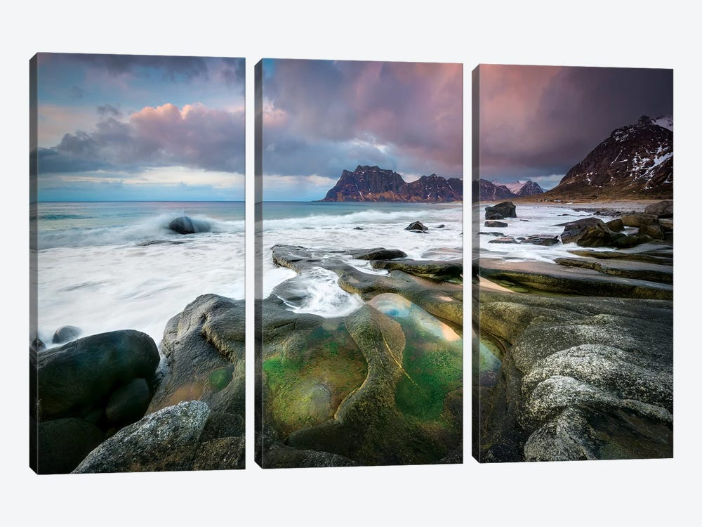 Uttakleiv Beach by Marco Carmassi 3-piece Canvas Art Print