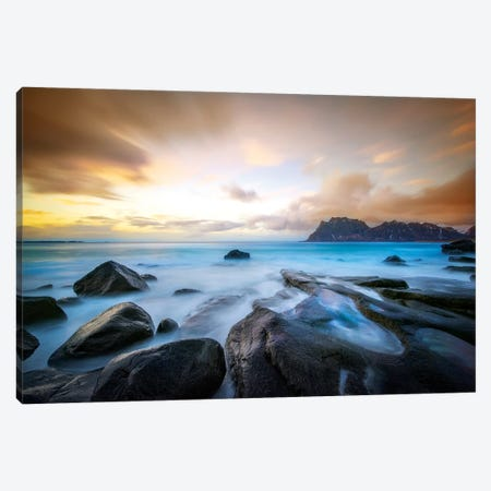 Uttakleiv Beach Before Sunset 3-Piece Canvas #MAO88} by Marco Carmassi Canvas Artwork