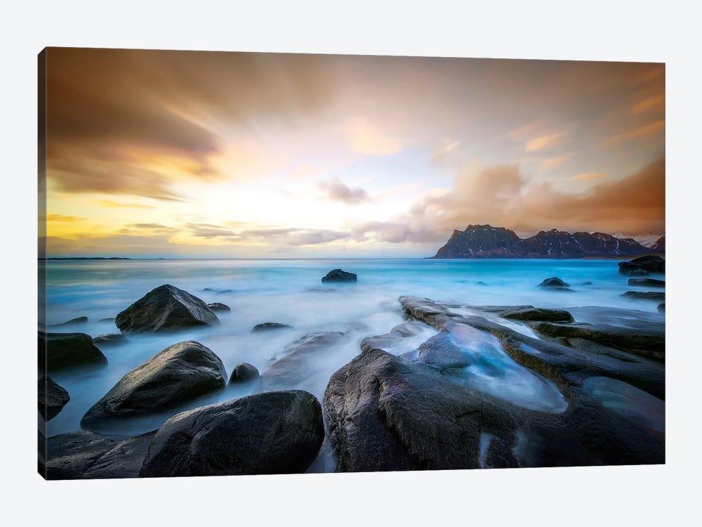 Uttakleiv Beach Before Sunset by Marco Carmassi 1-piece Canvas Print
