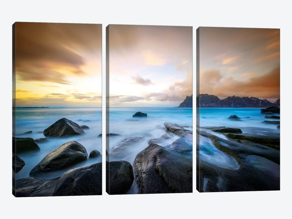 Uttakleiv Beach Before Sunset by Marco Carmassi 3-piece Canvas Print