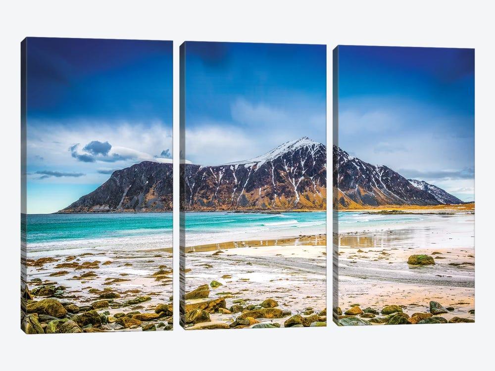 Flakstad Beach Lofoten by Marco Carmassi 3-piece Canvas Art