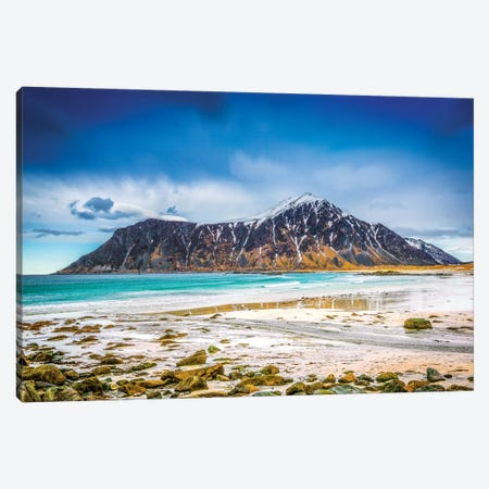 Flakstad Beach Lofoten Canvas Print #MAO90} by Marco Carmassi Canvas Art Print