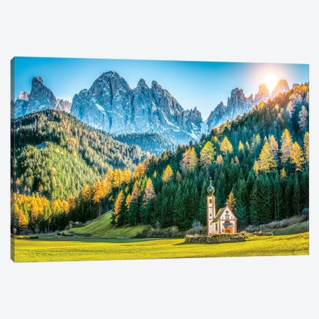 Val Di Funes Small Church Canvas Print #MAO95} by Marco Carmassi Canvas Wall Art