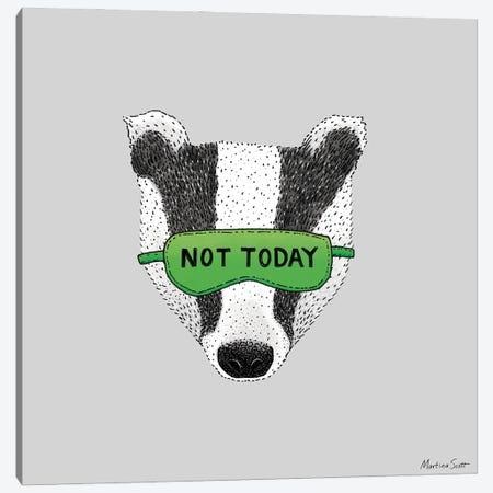 Not Today Badger Canvas Print #MAS101} by Martina Scott Canvas Art Print