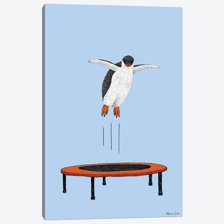 Penguin On A Trampoline Canvas Print #MAS103} by Martina Scott Canvas Art Print