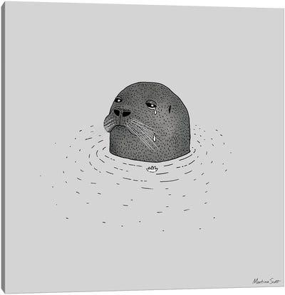 Sad Seal Canvas Art Print