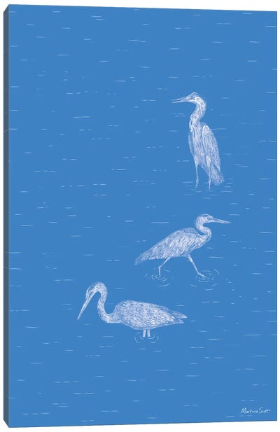 Three Herons (Blue Edition) Canvas Art Print